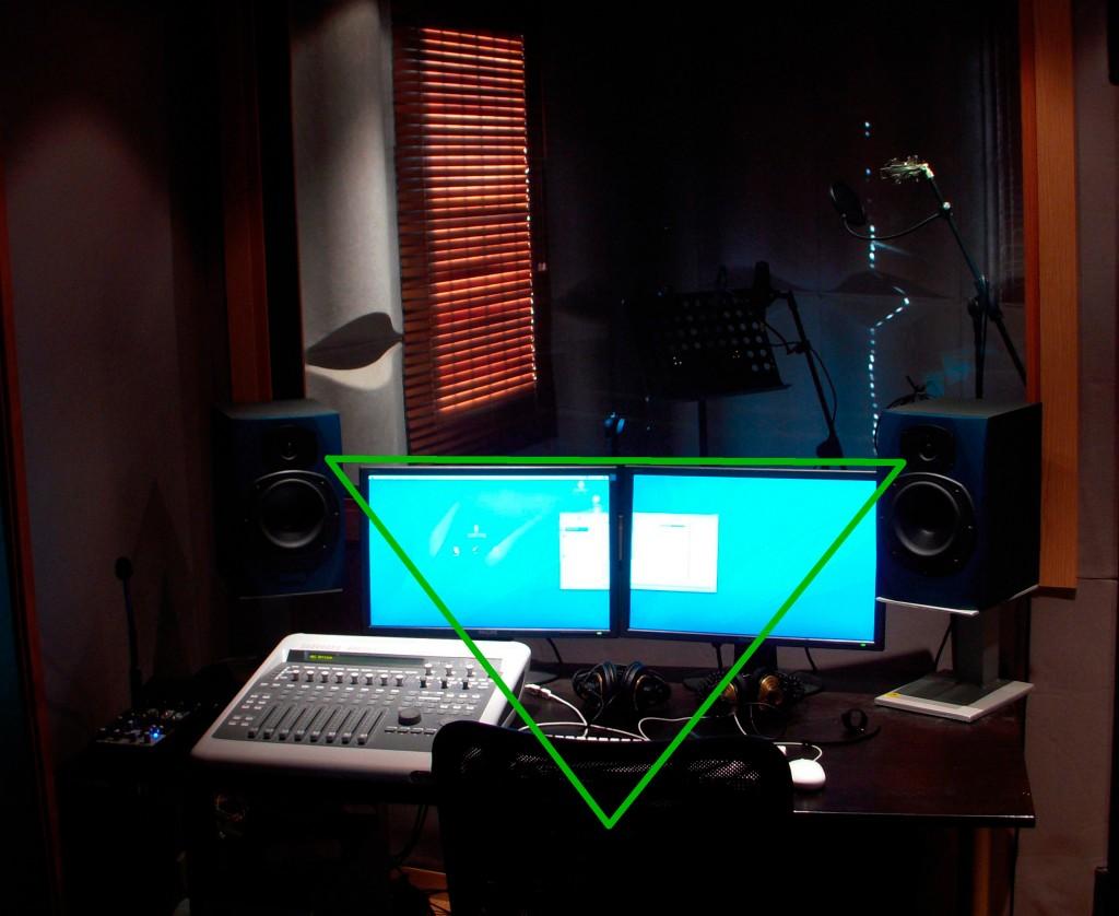 Colocación de los altavoces en el estudio de grabación